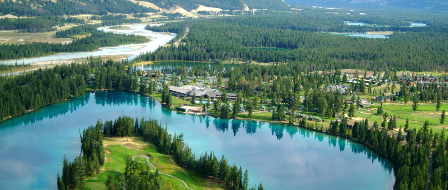 Arial view of Jasper Park Lodge