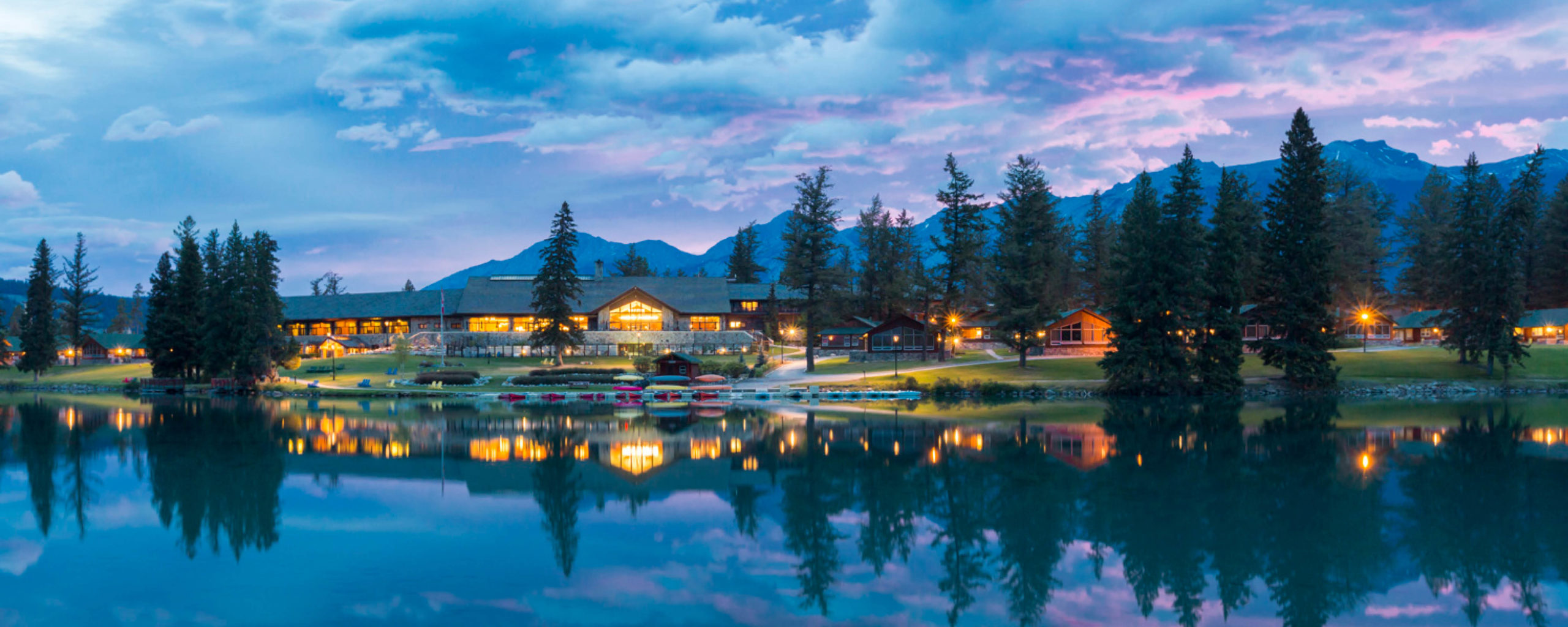 Jasper Park Lodge sits on beautiful Lac Beauvert in the Canadian Rockies
