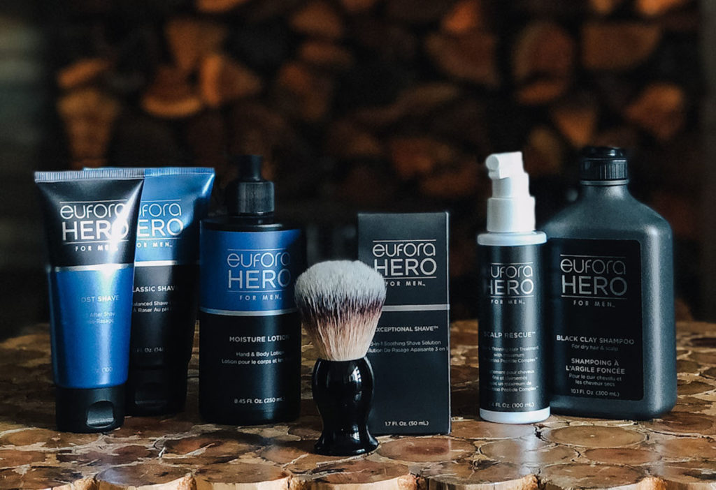 A collection of men's wellness products