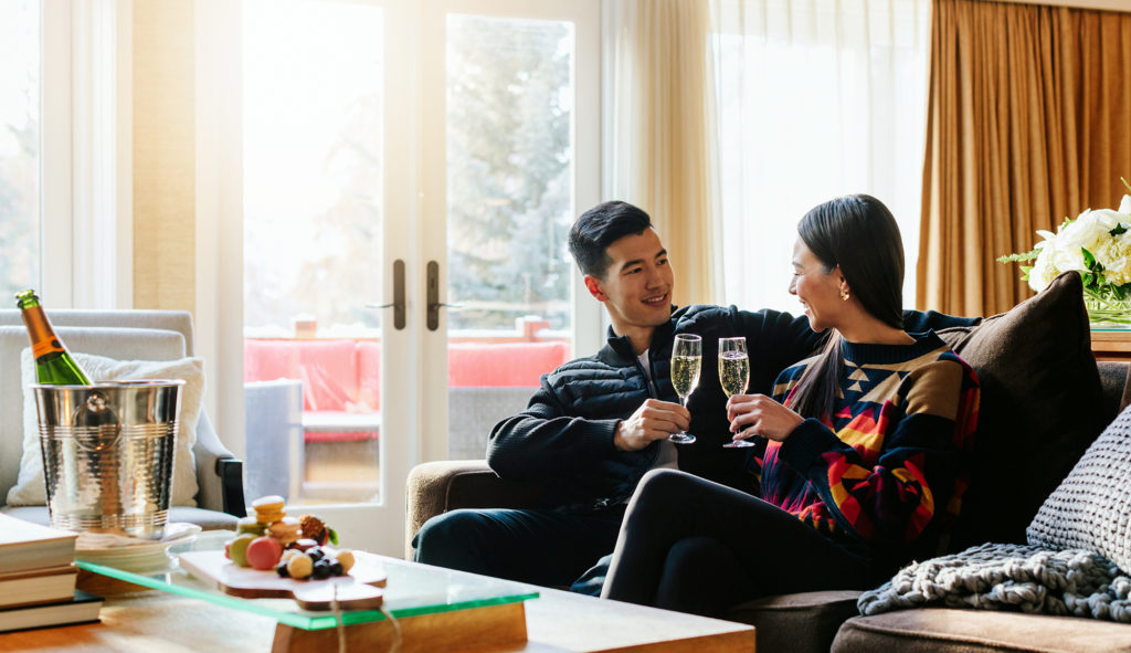 Cheers with Champagne in a Signature Cabin