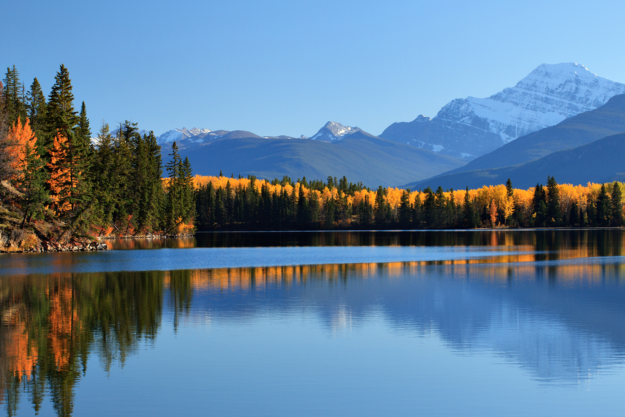 Lake with Mountains Jasper in the Fall