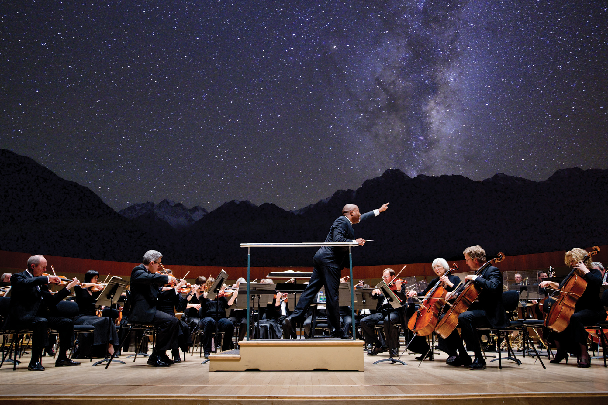 edmonton symphony orchestra playing under the stars in jasper national park