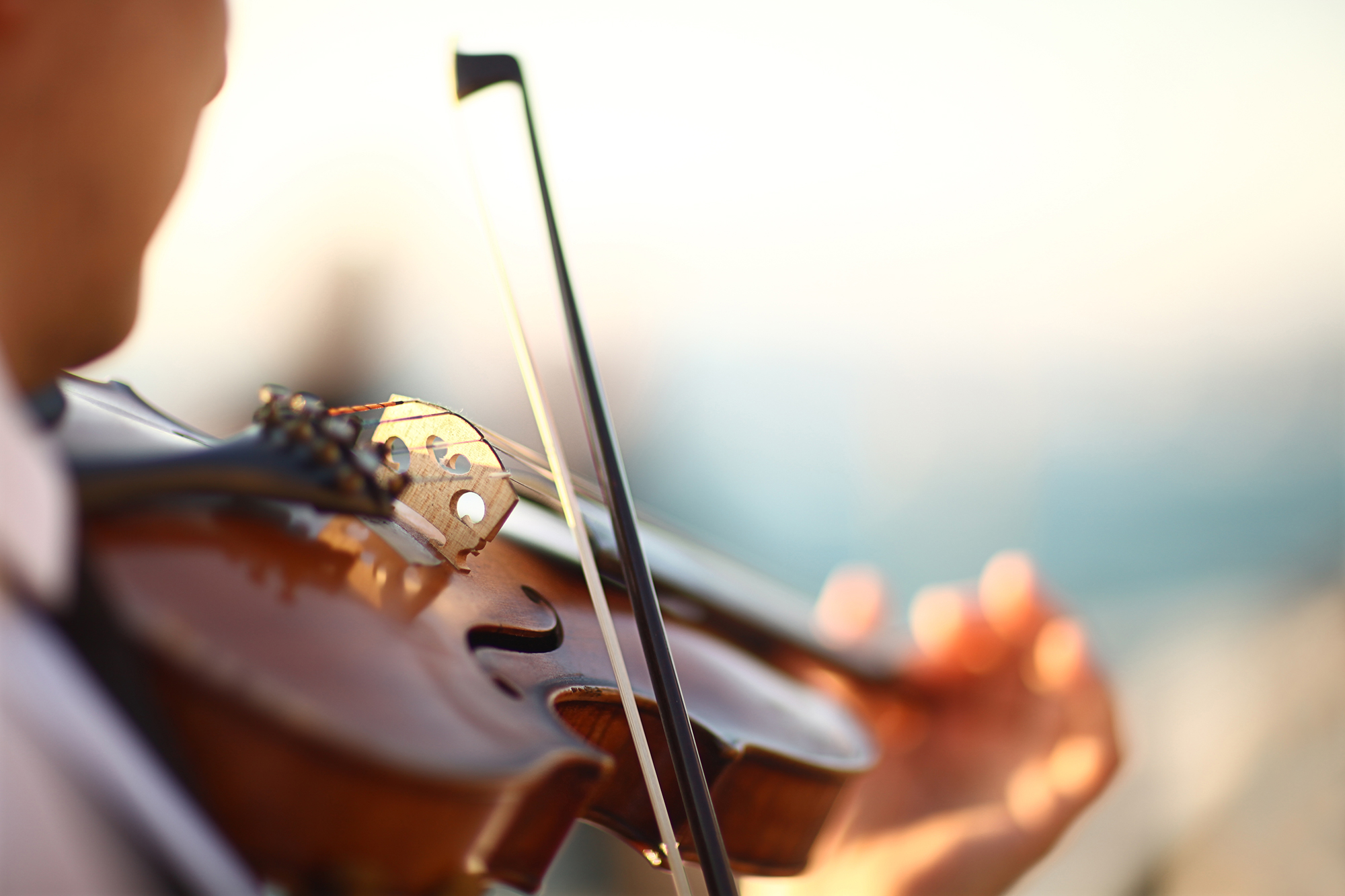 violin player in an outdoor performance