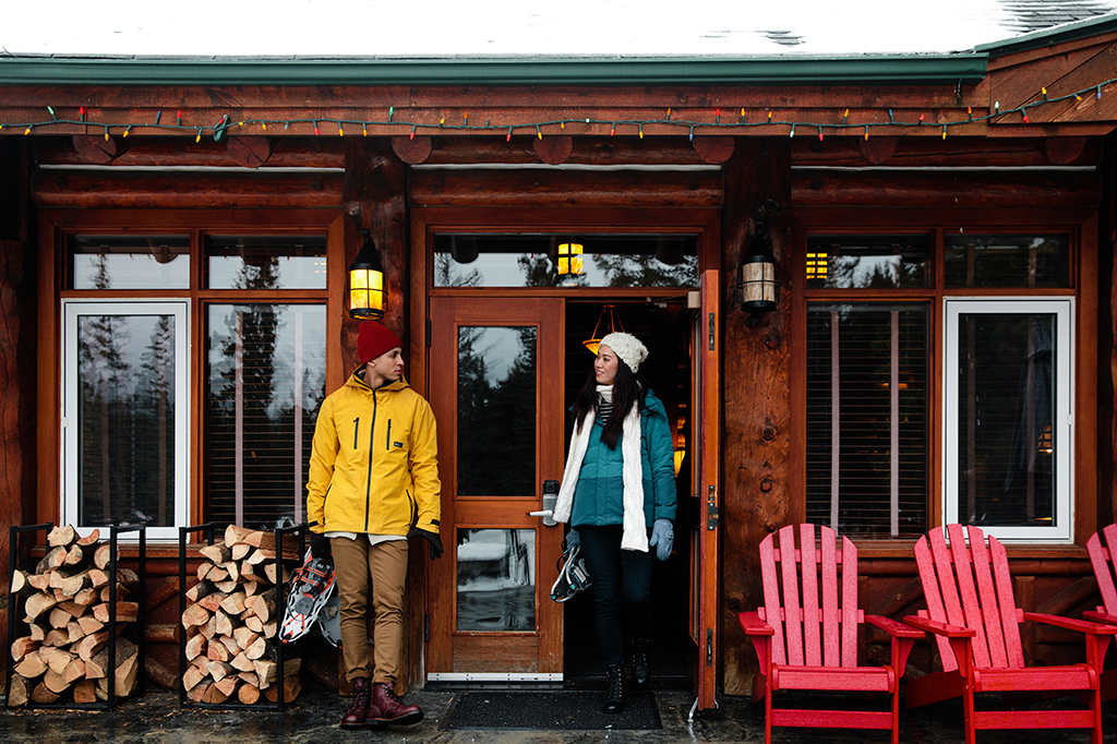 Couple Cabin Snowshoeing Winter Activity - Fairmont Jasper Park Lodge