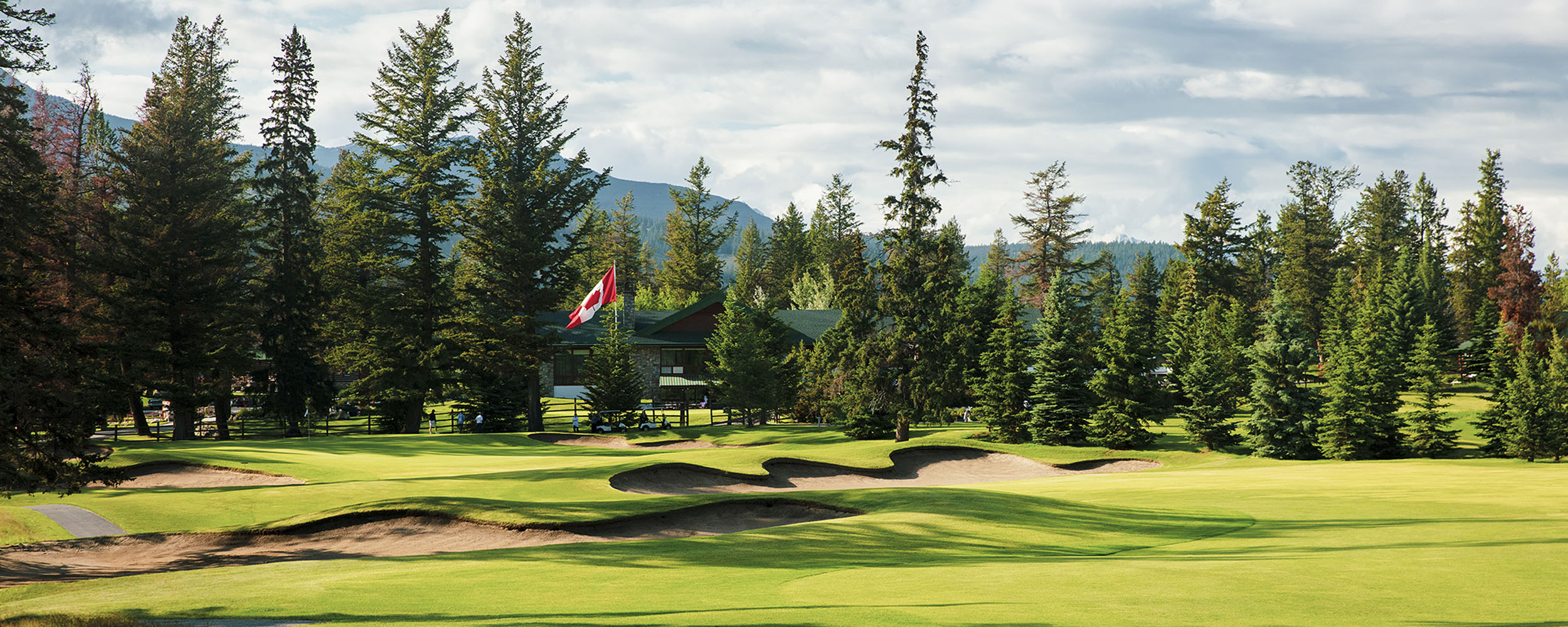View of the Golf Clubhouse from the 18th hole of Jasper Park Lodge Golf Course